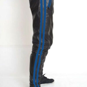 black-cowhide-leather-blue-strips-biker-pant