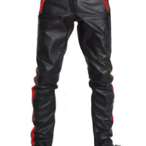 black-cowhide-leather-red-strips-biker-pant
