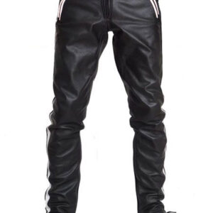 black-cowhide-leather-white-strips-biker-pant