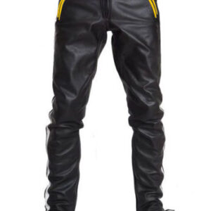 black-cowhide-leather-yellow-strips-biker-pant