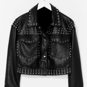 black-cropped-leather-silver-studded-leather-jacket