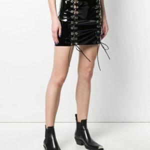 black-leather-lace-up-detail-mini-skirt