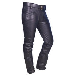 black-real-cowhide-leather-biker-pant