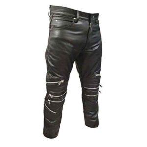 black-zipper-cowhide-leather-biker-pant