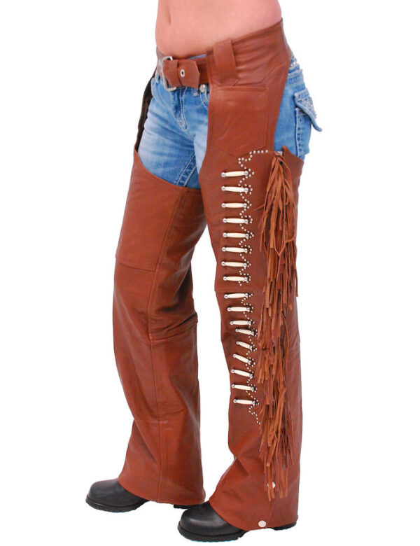 Brown Leather Chaps w/Fringe And Bone Beading