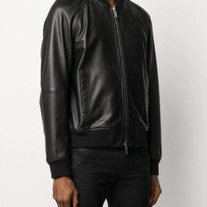 zipped-bomber-black-leather-jacket