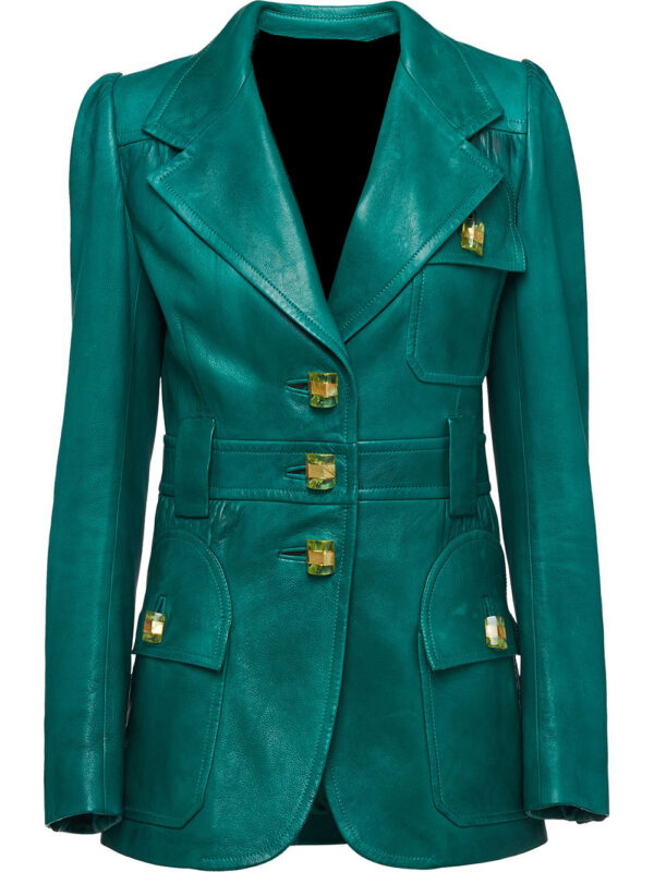 green-single-breasted-leather-blazer-coat