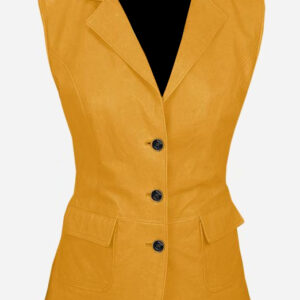 luxurious-3-button-womens-yellow-leather-vest