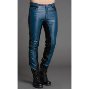 men-fashion-contrast-color-black-blue-leather-pant