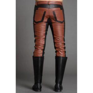 men-fashion-contrast-color-black-brown-leather-pant