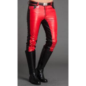 men-fashion-contrast-color-black-red-leather-pant