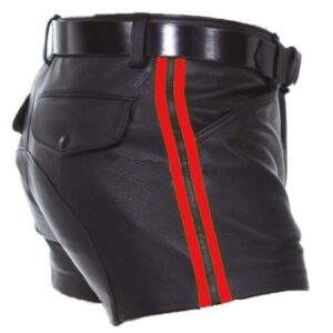 mens-real-leather-black-with-red-strips-shorts