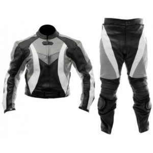 motorcycle-black-grey-leather-racing-suit
