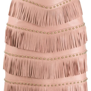pink-lamb-skin-stud-embellished-fringed-skirt