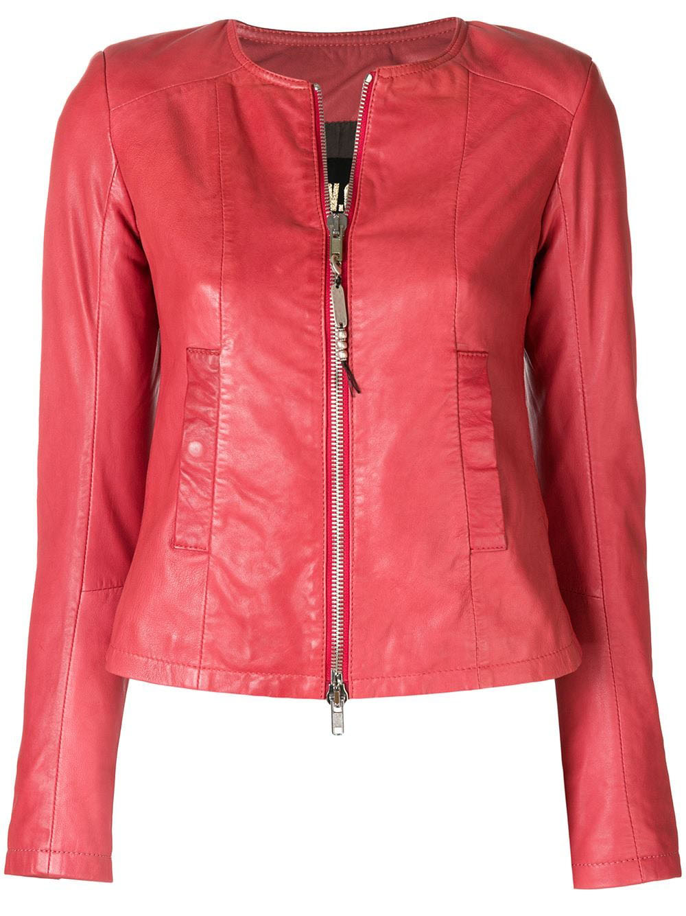 red-lambskin-collarless-leather-jacket