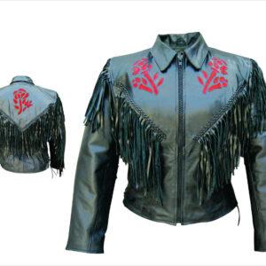 red-roses-side-lace-black-leather-fringe-jacket