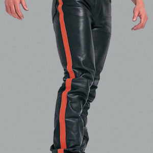 red-strip-real-leather-biker-pant