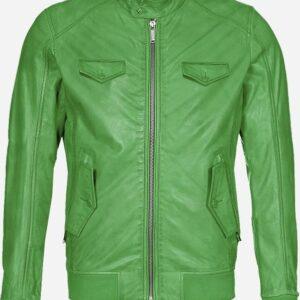regular-fit-green-bomber-leather-jacket