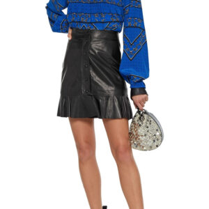 ruffle-trimmed-leather-mini-skirt