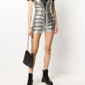 silver-tone-metallic-v-neck-biker-playsuit