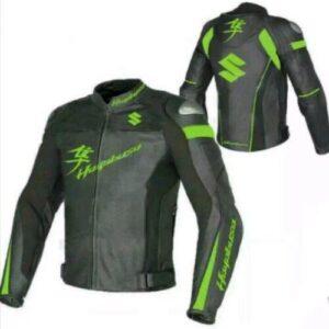 suzuki-hayabusa-motorcycle-green-and-black-leather-racing-jacket
