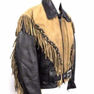 two-tone-fringe-leather-belted-biker-jacket