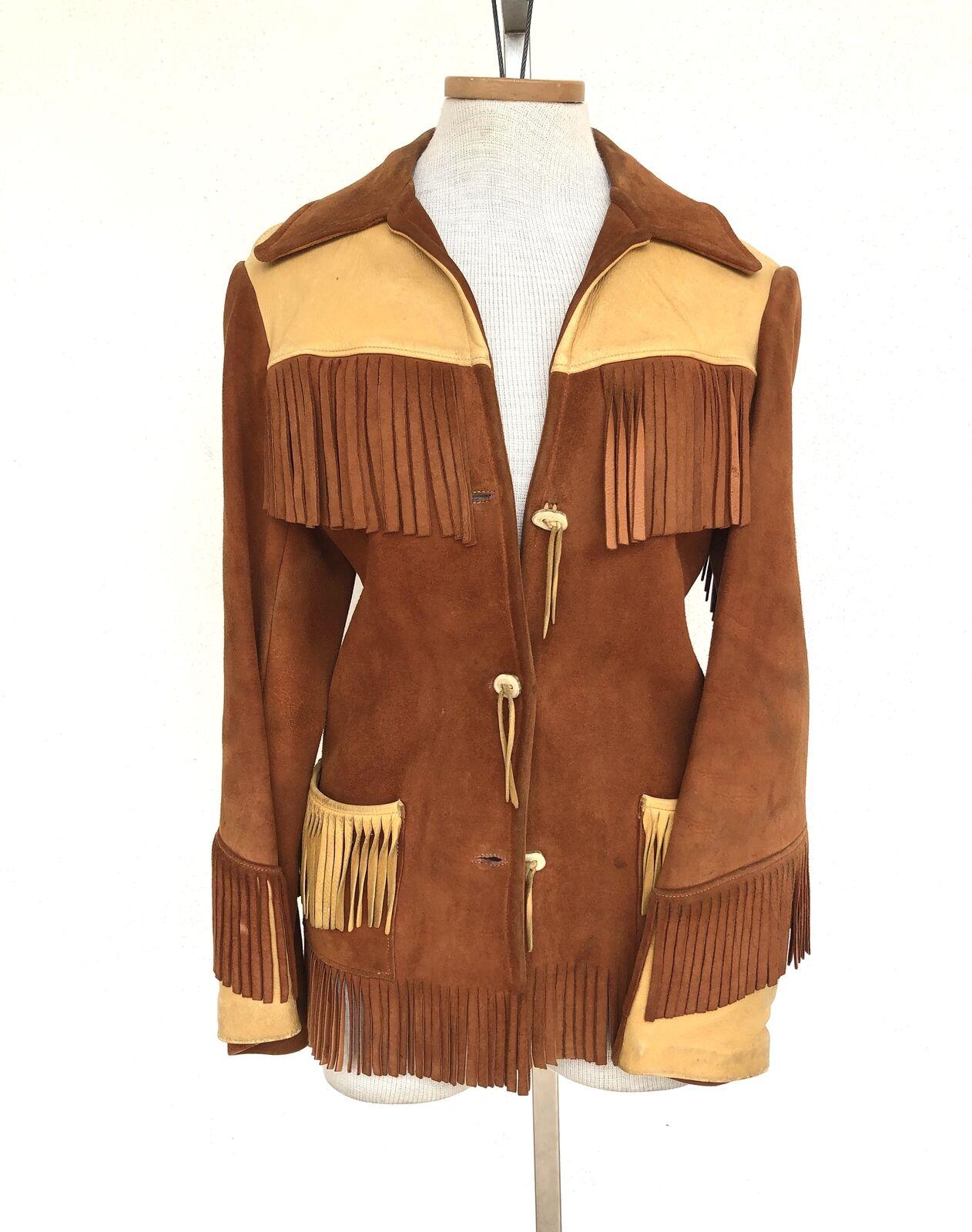 M 70s Western Fringe Suede Leather Vest Jacket Unisex Size S