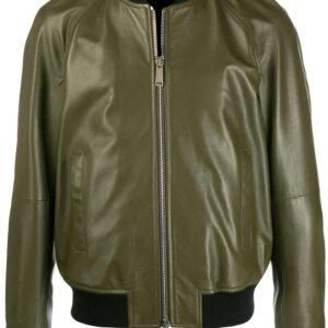 zipped-bomber-green-leather-jacket