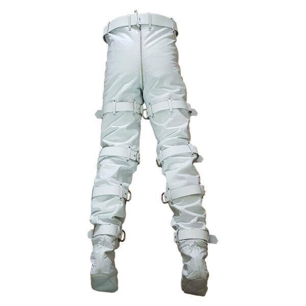 White Leather Locking Bondage Pant with Rear Zip