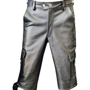 black-leather-combat-cargo-shorts