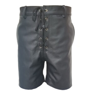 black-leather-front-laced-shorts