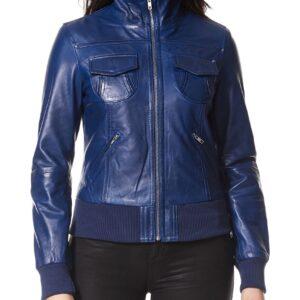 blue-short-bomber-leather-biker-jacket