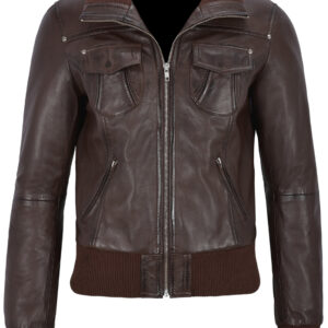 brown-short-bomber-leather-biker-jacket