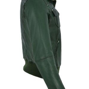green-short-bomber-leather-biker-jacket