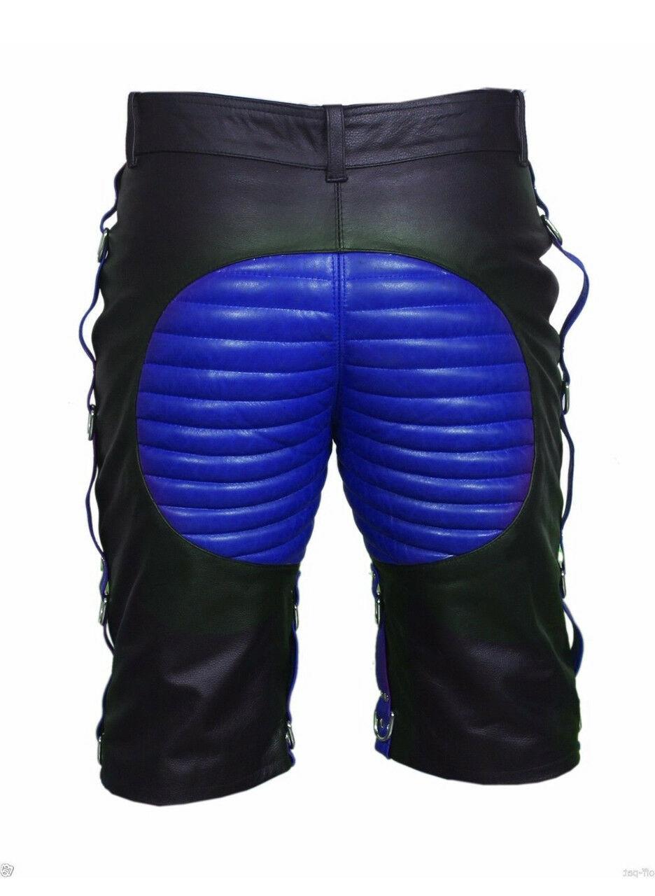 men-bondage-real-black-blue-leather-shorts