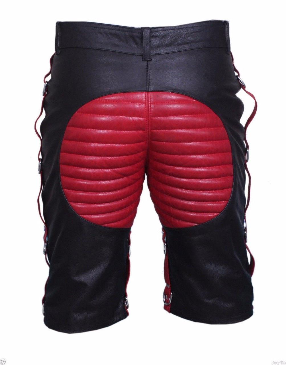 men-bondage-real-red-black-leather-shorts