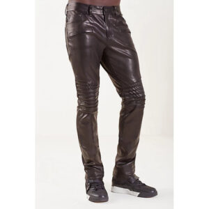 men-casual-skin-tight-fit-dark-brown-leather-pant