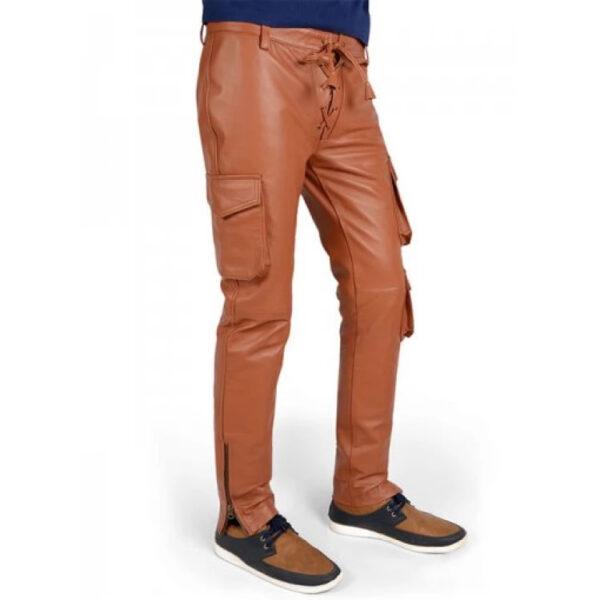men-soft-pure-tan-leather-cargo-pant
