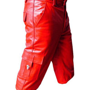 red-leather-combat-cargo-shorts