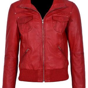 red-short-bomber-leather-biker-jacket