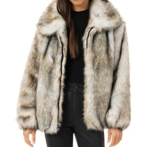 Wolf Faux Fur Bomber Jacket