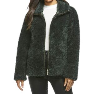 Green Faux Fur Zipper Jacket