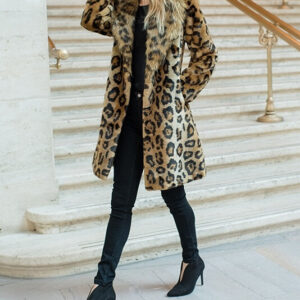 Leopard Faux Fur Knee-Length Coat