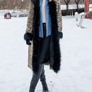 Leopard Hooded Faux Fur Coat