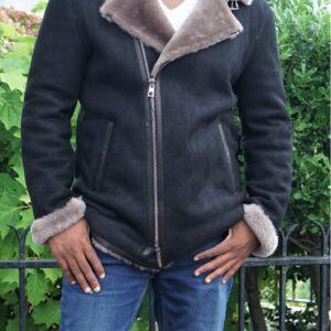 mens-black-fur-shearling-biker-jacket