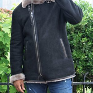 Men's Black Fur Shearling Biker Jacket