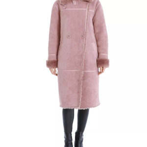 Rose Taupe Double-Breasted Faux Shearling Coat