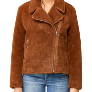 Sherpa Jacket With Moto Collar In Cinnamon