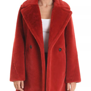 Faux Rabbit Fur Pea Coat In RedFaux Rabbit Fur Pea Coat In Red