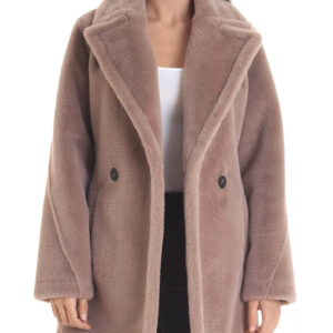 Faux Rabbit Fur Pea Coat